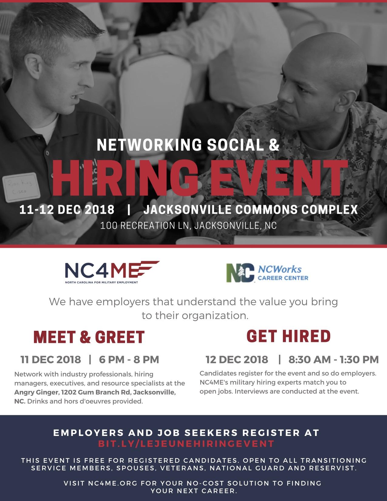 NC4ME Hiring Event - Day 1 @ Angry Ginger