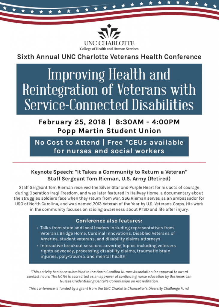 UNC-Charlotte hosts Sixth Annual Veterans Health Conference @ Popp Martin Student Union